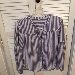Purple and white striped shirt